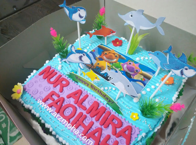 baby shark birthday cake for kids, baby shark birthday cake, example kids birthday cake, kek kanak-kanak, blogger malaysia,