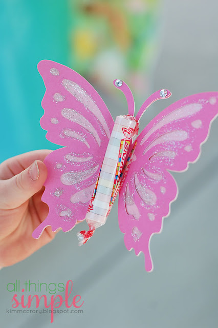 Little girls will love adding glitter and sparkles to this simple butterfly craft. Cut butterflies with your Silhouette and supply glitter glue and gems to embellish.