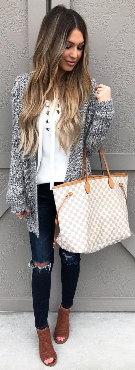casual style inspiration / knit cardigan + lace-up top + bag + rips + boots