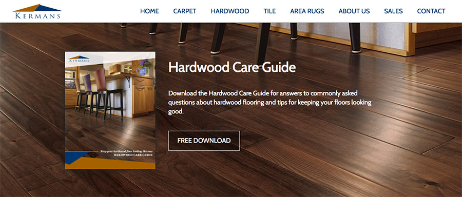 Downloadable content offer example: Kermans Hardwood Care Guide