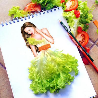 Ilustración de mujer bonita con vestido