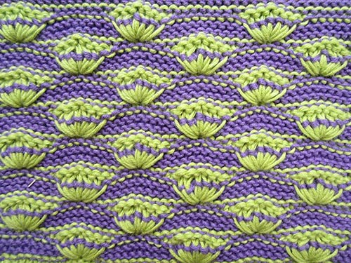 Shells on Garter-Stitch Background  - Wrong side