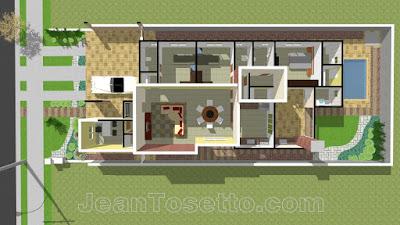 O lote de 360,00 m² comporta uma residência de 179,10 m² e uma piscina de 7,56 m².