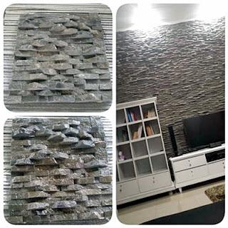 Gambar Batu Alam Wall Cladding Andesit 2 cm untuk Templek Dinding Rumah