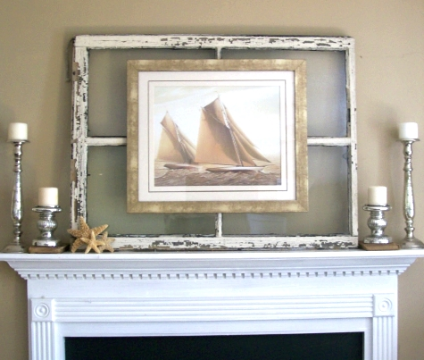 coastal wall decor ideas with old window frames coastal