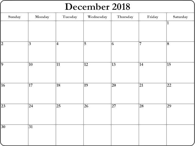 December 2018 Excel