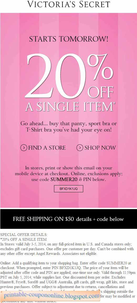 Victoria's secret pink coupons free shipping