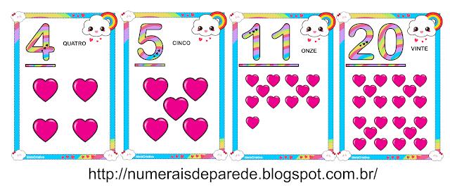 Numerais de parede tema CHUVA DE AMOR para imprimir GRÁTIS