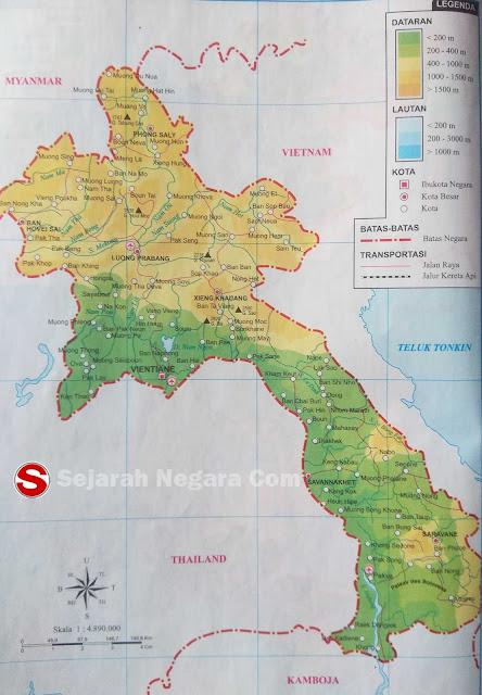 Peta dataran dan perairan sanggup anda lihat pada kotak LEGENDA berupa angka yang tertera Peta Negara Laos 2019
