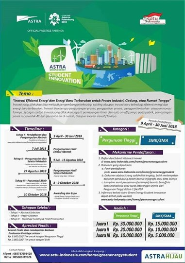 Astra Green Energy Student Innovation SMA Sederajat & Mahasiswa 2018