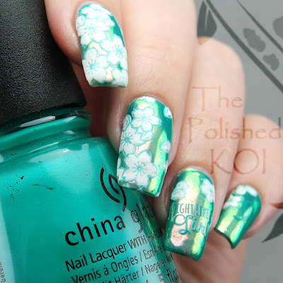 China Glaze Turned Up Turquiose Luminara chrome powder creative shop stamping
