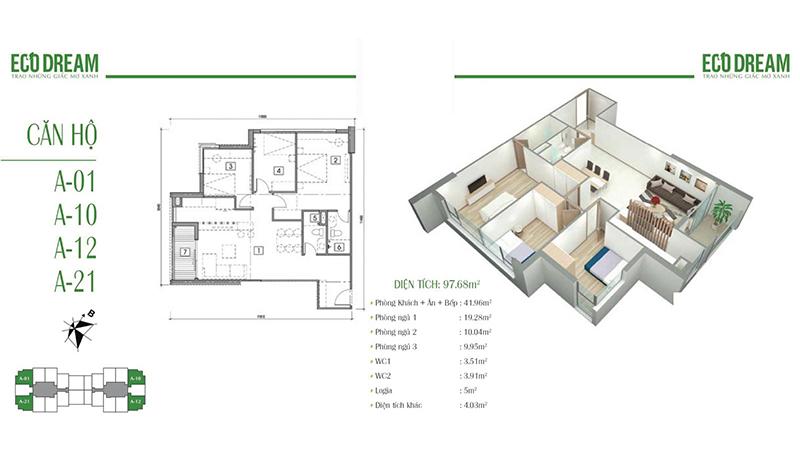 Thiết kế căn hộ 3PN, 97m2 chung cư Eco Dream