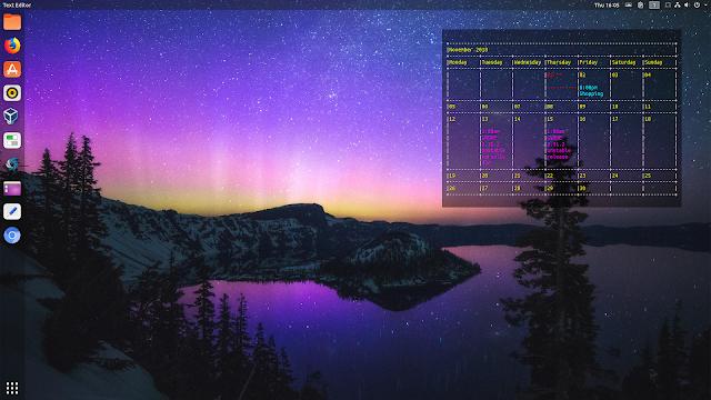Google Calendar embedded in desktop background on Linux