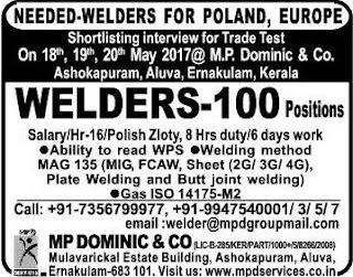 Welders jobs in Poland - Interview in Kochi