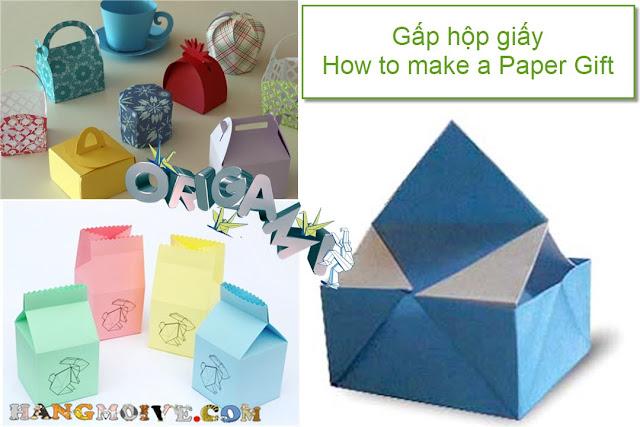Cách gấp, xếp hộp, túi quà tặng có nắp cầm bằng giấy origami - How to make a paper gift