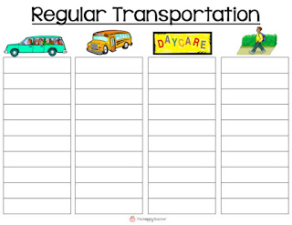 Chart for car riders, bus riders, daycare, walkers