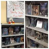 display of books for Halloween at Damascus Library