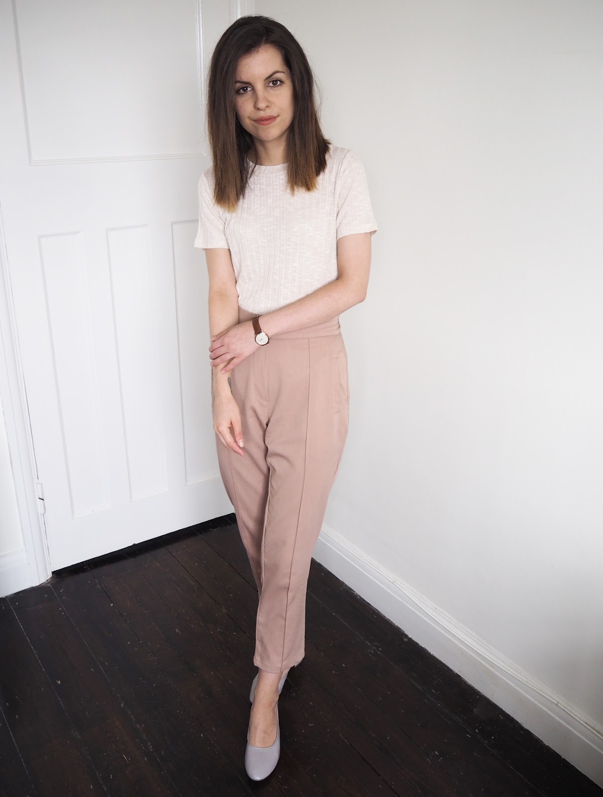 Sweet Monday outfit, boohoo pink peg leg trousers