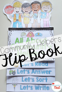 community helpers flip book- September Activities and primary resources plus three FREEBIES- fun ELA, math, and social studies activities for students during the month of September