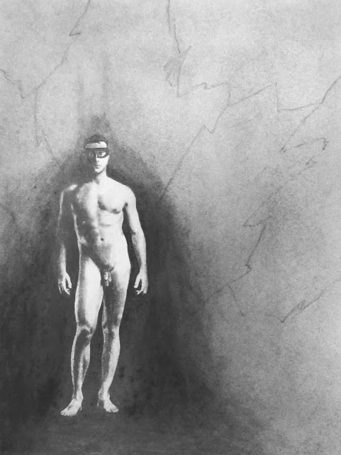 The Boy Wonder, Alone. c.2016 by F. Lennox Campello, charcoal on paper