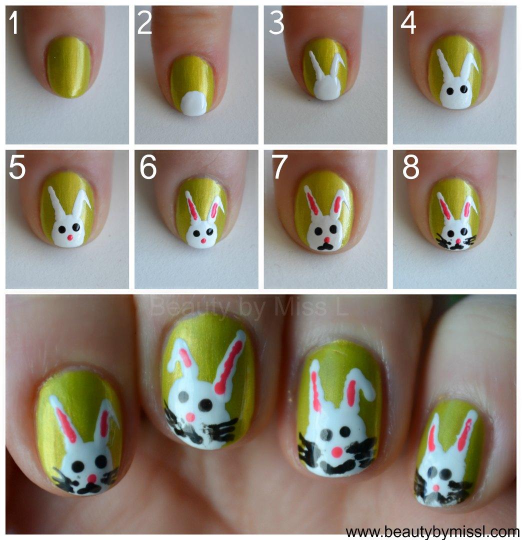 simple bunny nail art tutorial