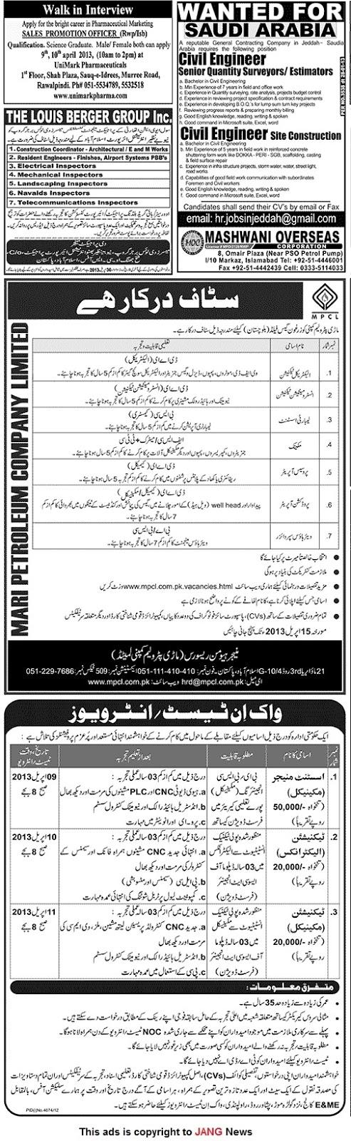 Jang Newspaper Jobs Ads Sunday 7th April 2013 Karachi ...