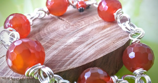 "Carnelian Wire Wrapped Bracelet ""Sugar Maple"""
