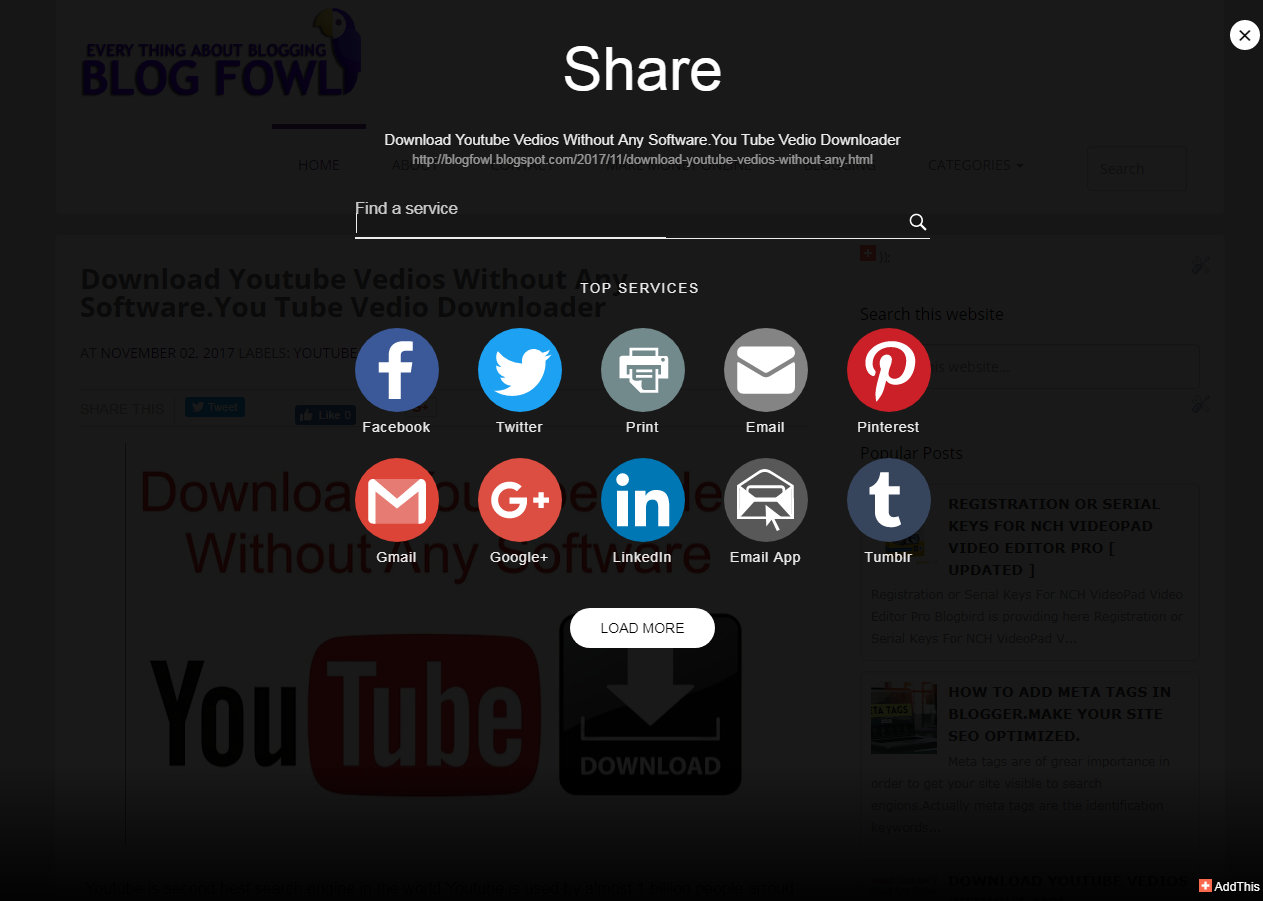 How To Add Pop Up Pop Sharing Widget In Blogger Add This Pop