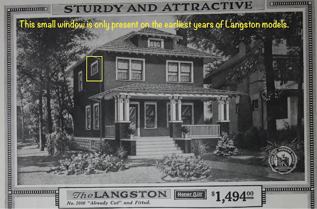 Sears Langston in 1918 catalog with little rectangular window on 2nd floor upper
