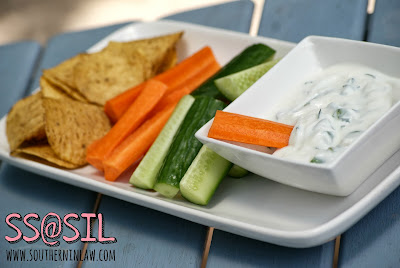 Garlic and Herb Yogurt Dip with Corn Chips and Vegetables