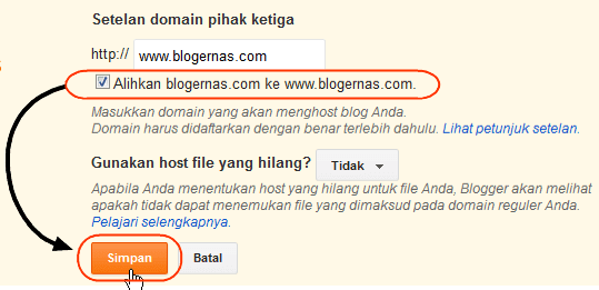 Cara Setting Domain Blog tanpa WWW Sekali Klik