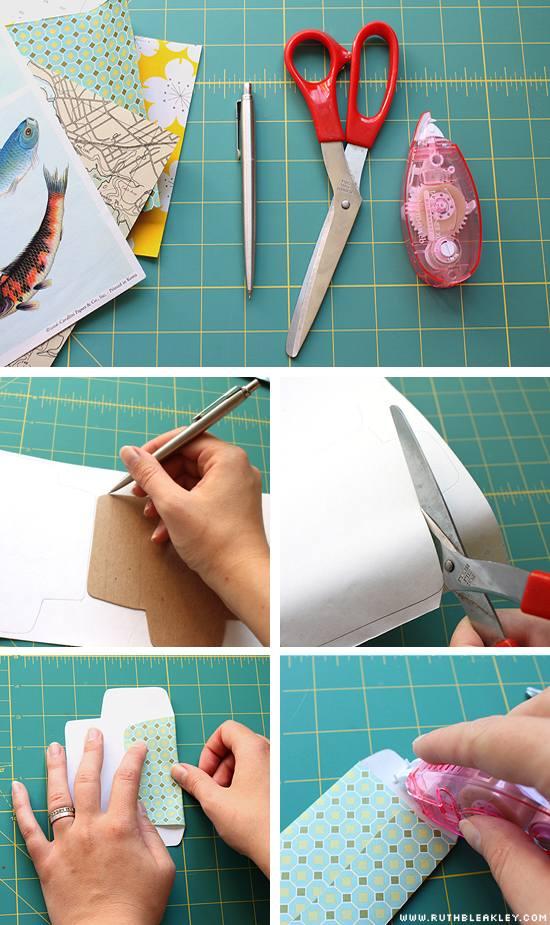 procedimiento para transformar papel decorado en sobres