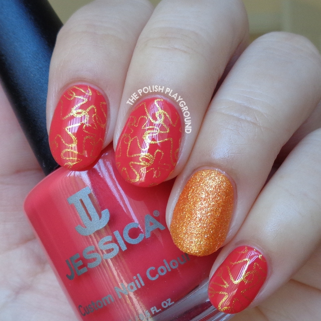 Coral Pink and Gold Starfish Stamping Nail Art