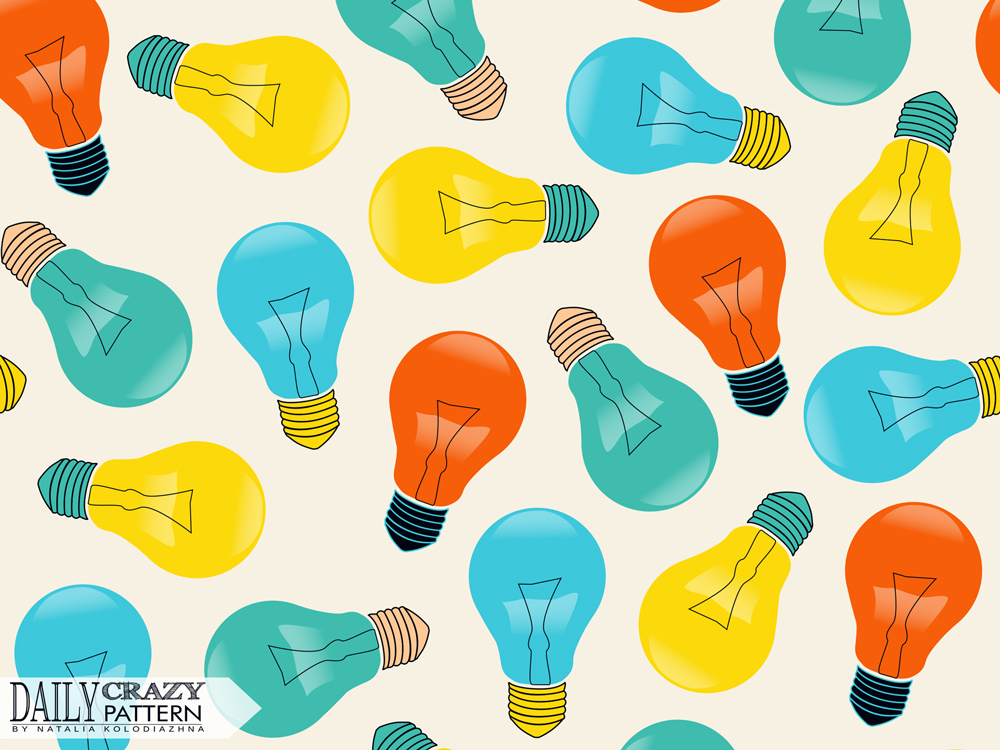 "Colorful art print with lightbulbs for ""Daily Crazy Pattern"" project"