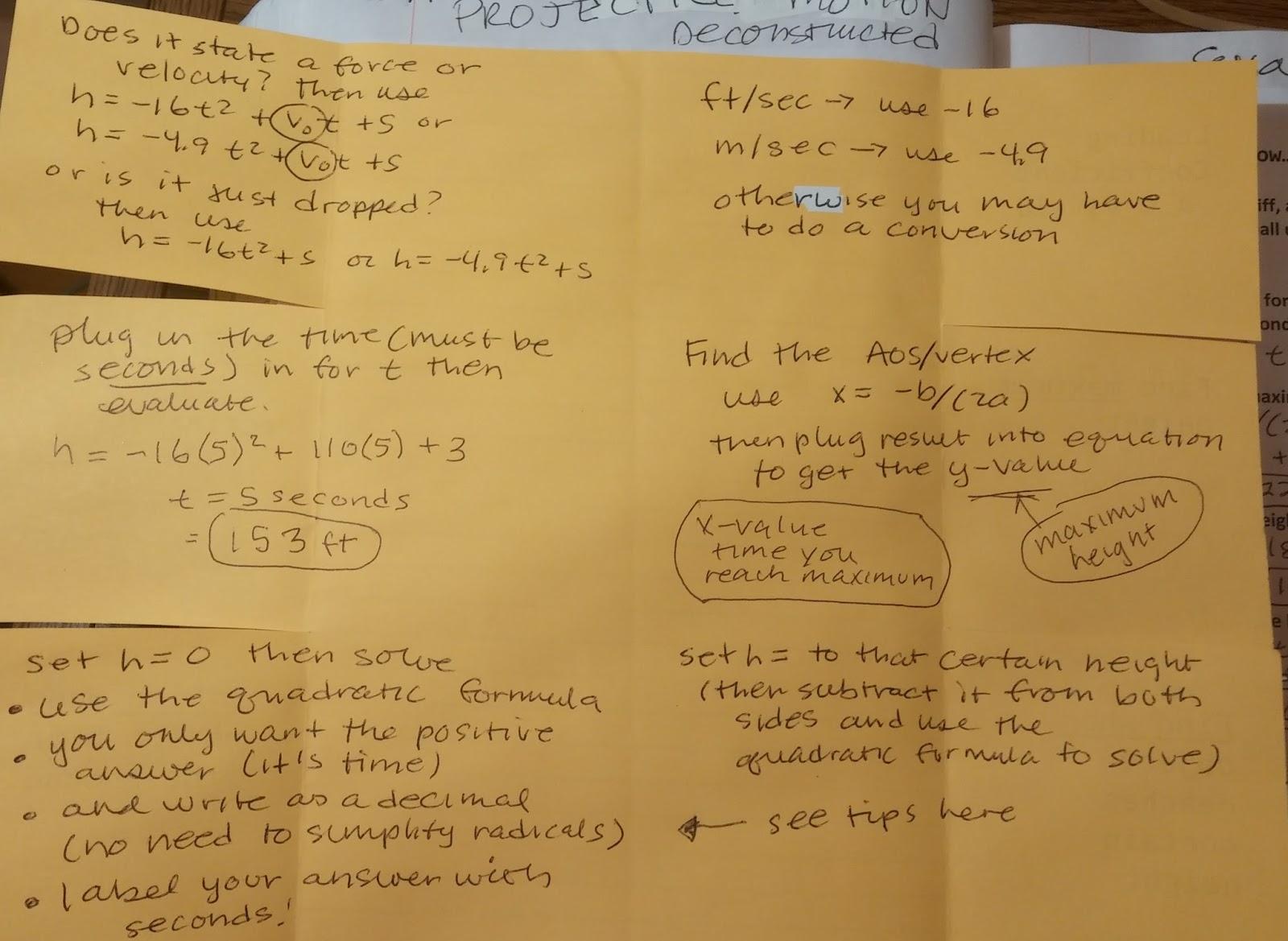 Beautiful Math Projectile Motion Algebra One