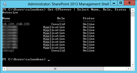 powershell to list sharepoint farm servers