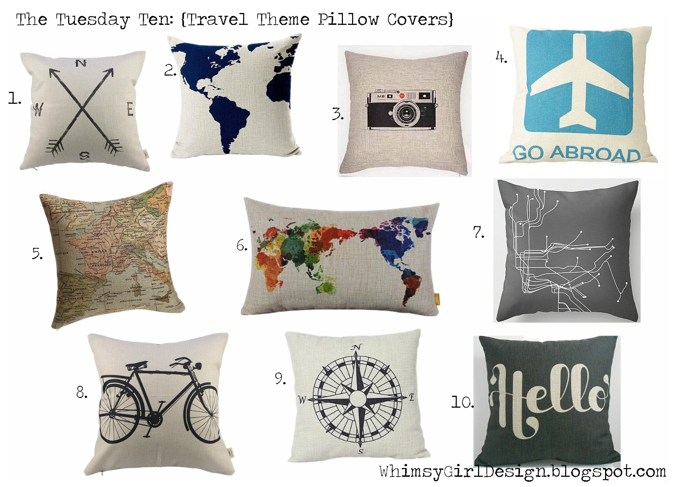 Decorative Pillows Travel Theme : whimsy girl: The Tuesday Ten: {Travel Themed Pillow Covers}