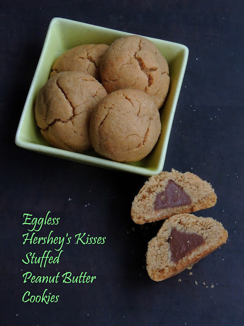 Eggless Hershey's Kisses Stuffed Cookies, Stuffed peanutbutter cookies