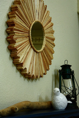 wood shim, sunburst mirror