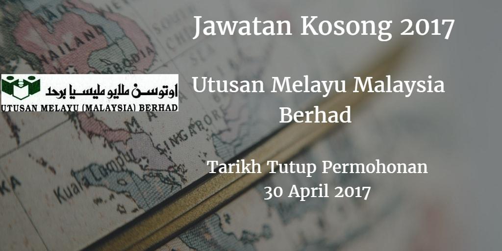 Jawatan Kosong Utusan Melayu Malaysia Berhad 31 Mei 2017