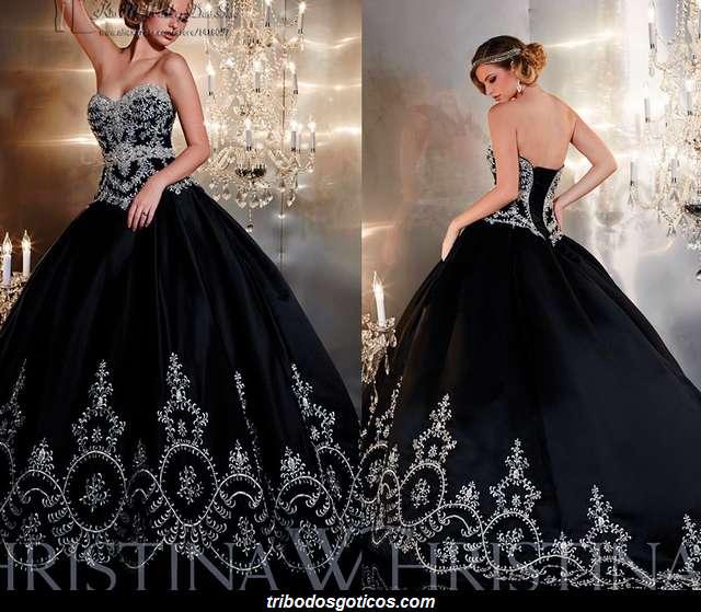 vestido rodado preto gotico brilhantes casamento