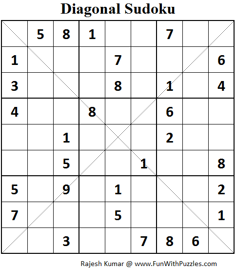 Diagonal Sudoku (Fun With Sudoku #75)
