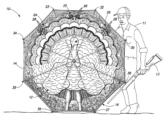 U.S. Patent 7,828,003 Figure 2, Hunter Deploying Turkey Blind