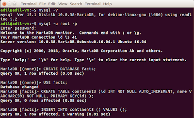 The figure shows MySQL CREATE DATABASE, CREATE TABLE, INSERT INTO commands and their outputs. OS is Ubuntu
