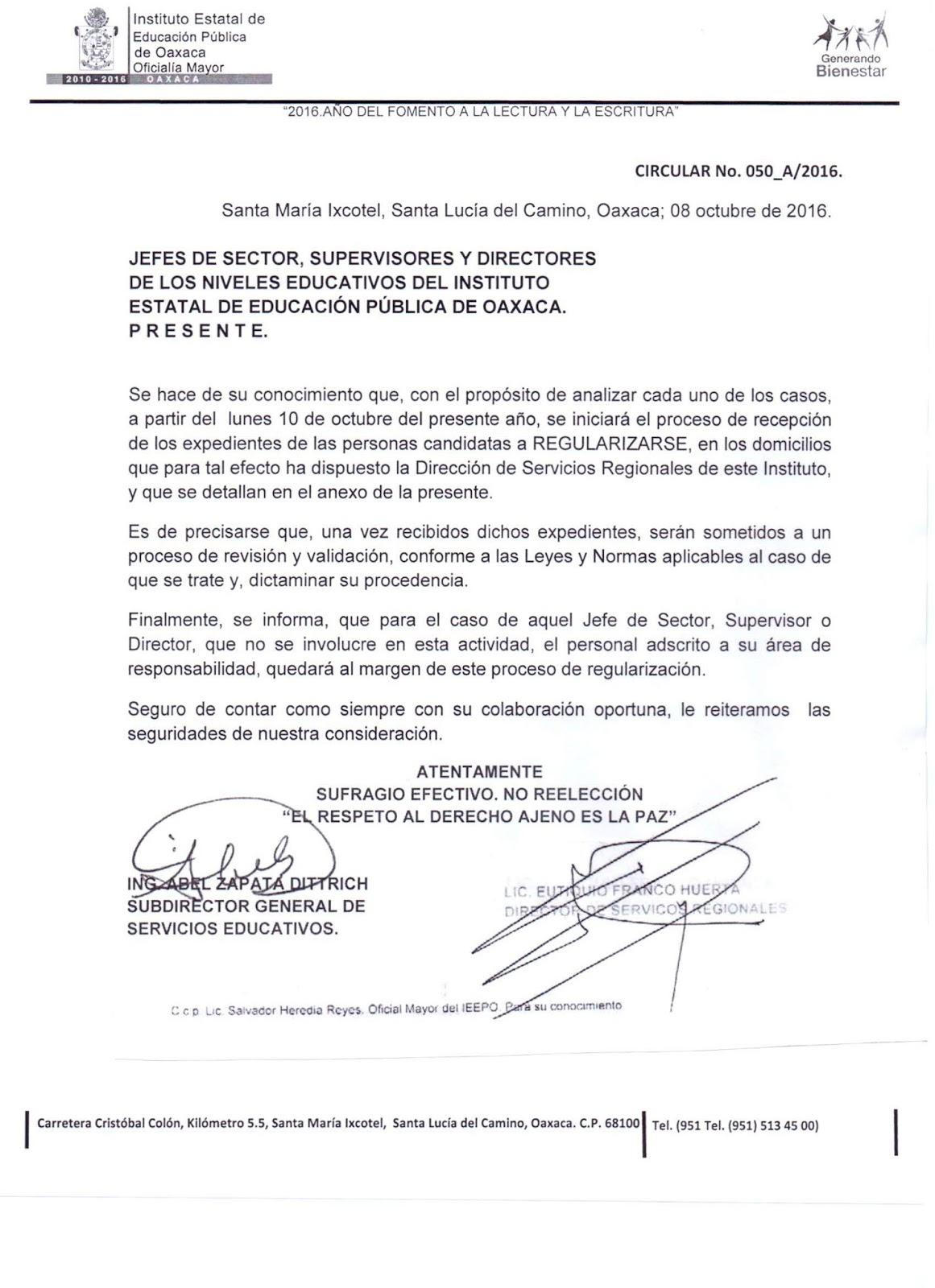 Unidad de Educación Secundaria - IEEPO: 2016