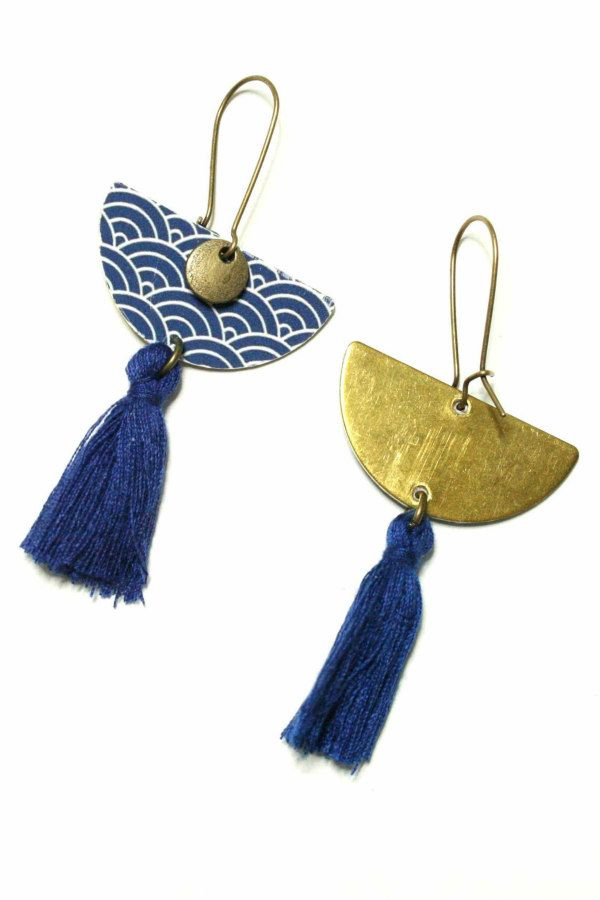 brass and blue patterned paper half disc tassel earrings
