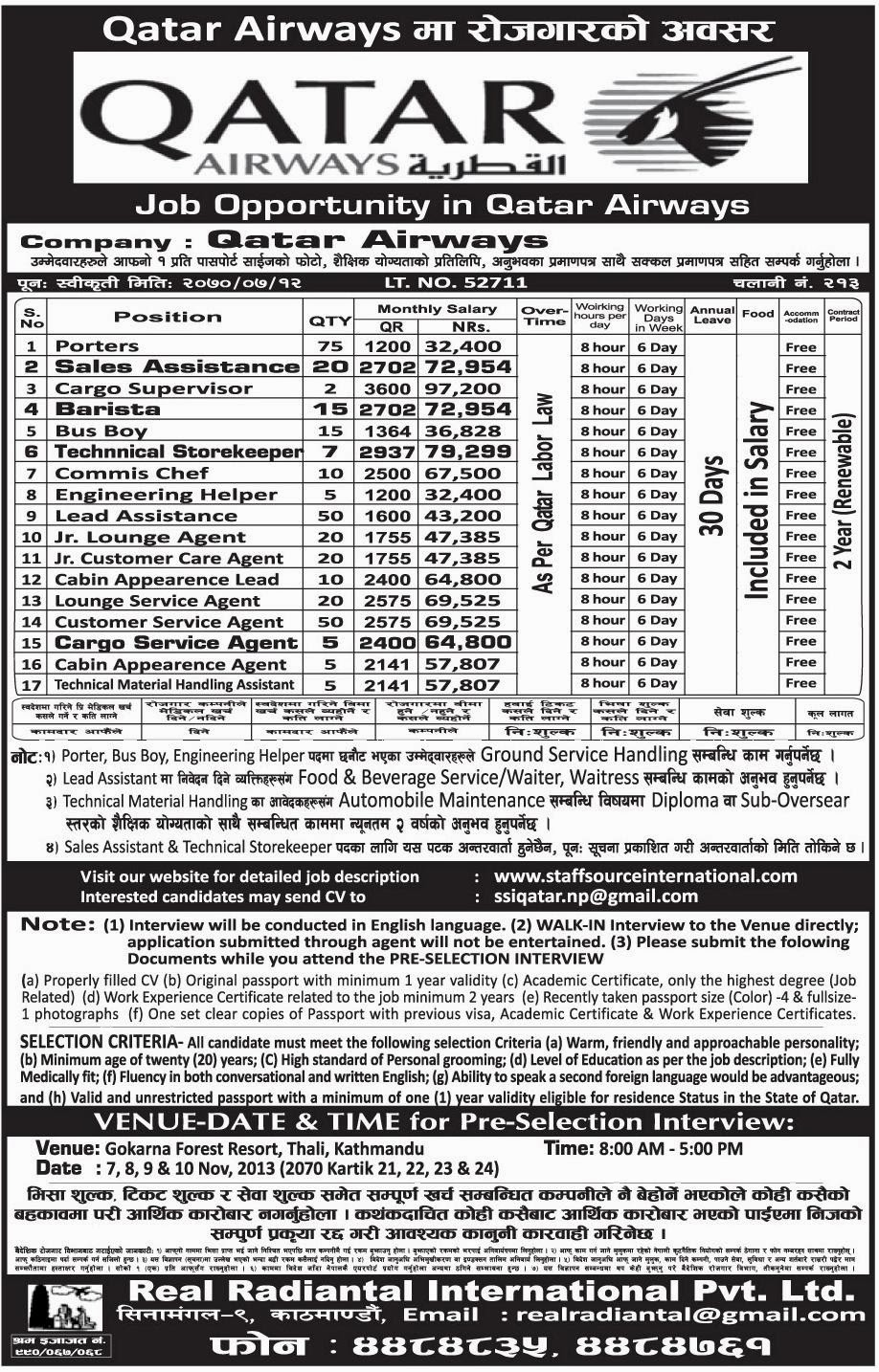 Job Opportunities in Qatar Airways   Jobs in Nepal