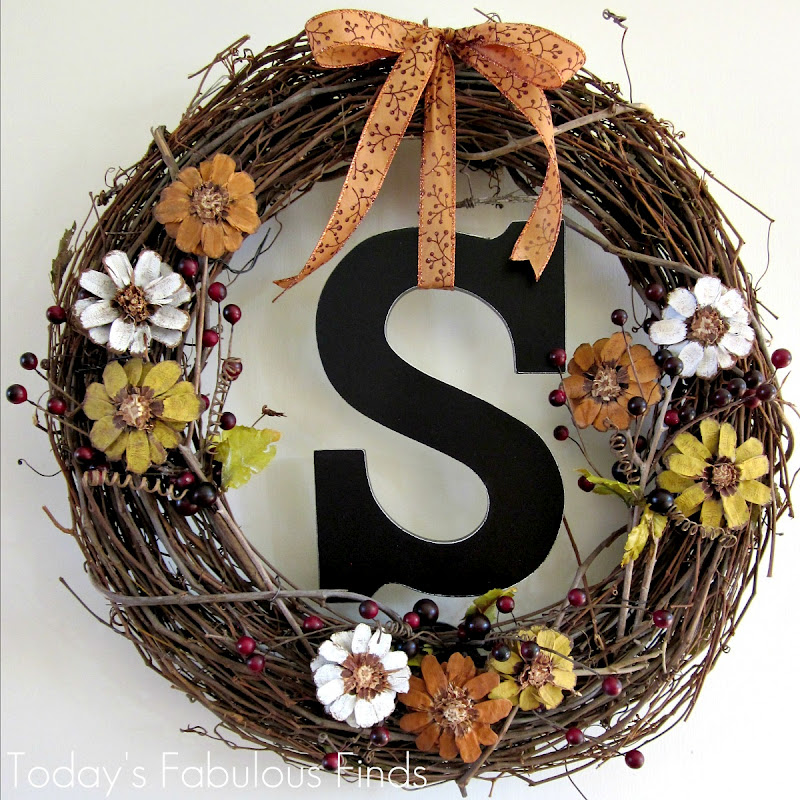 Today S Fabulous Finds Fall Grapevine Wreath With Pine Cone Flowers Take Two