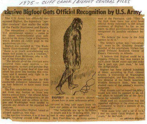 Bigfoot Declared To Exist By US Army