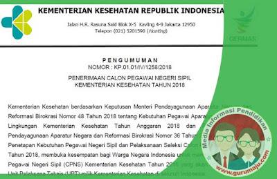 Penerimaan CPNS Kementerian Kesehatan Tahun 2018